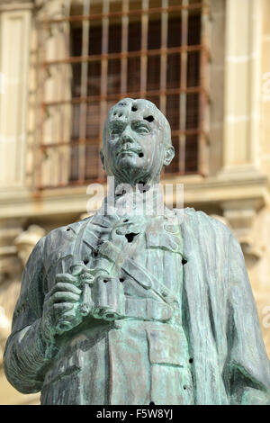 Monument to General Leopoldo Saro Marin in Plaza de Andalucia in Ubeda Spain. The statue has bullet holes from Spanish - Stock Photo