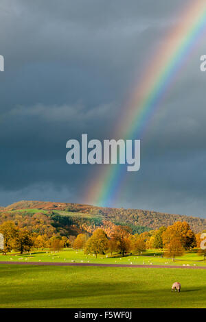 Rainbow over  the Derbyshire Peak District countryside in autumn, Derbyshire, England UK - Stock Photo