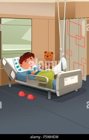 A vector illustration of kid with broken leg in the hospital - Stock Photo