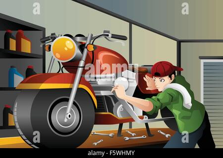 A vector illustration of man fixing a motorcycle in the garage - Stock Photo