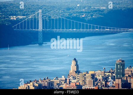 Aerial view of Manhattan Upper West Side with George Washington Bridge and Hudson River. New York City. - Stock Photo