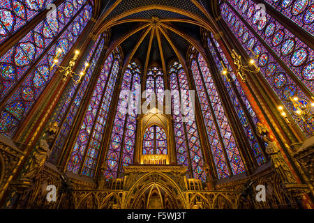 Stained Glass in the Sainte Chapelle (Holy Chapel) Interior. Gothic, Rayonnant architecture on Ile de la Cite Paris, - Stock Photo