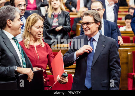 Barcelona, Catalonia, Spain. 9th Nov, 2015. Acting Catalan president ARTUR MAS after his speech for the investiture - Stock Photo