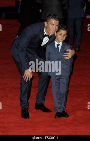London, UK. 09th Nov, 2015. Ronaldo  & His son attending the Would  Premiere of RONALDO  at the Vue West End London - Stock Photo