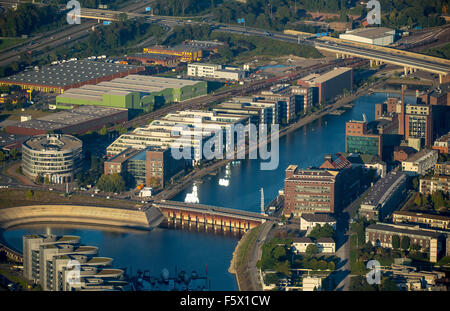 Innenhafen Duisburg,Duisburg Inner Harbour, Duisburg, Ruhr, Nordrhein-Westfalen, Germany, Europe, Aerial view, birds - Stock Photo