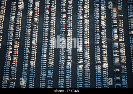New car parking, lines of cars, VW, Porsche, Audi, Helf Automobil-Logistik GmbH, Stauder street food, auto dump, - Stock Photo