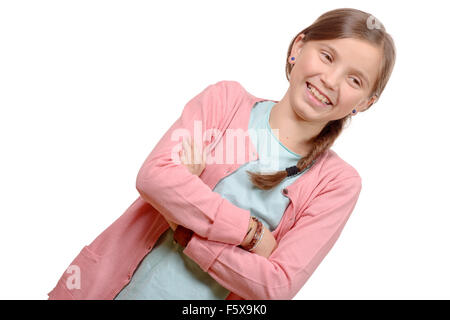 Smiling blond girl with braid. Girl eleven years old - Stock Photo