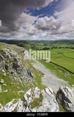 View towards Moughton Scars and Crummackdale from Robin Procters Scar near, Austwick, Yorkshire Dales, North Yorkshire, - Stock Photo