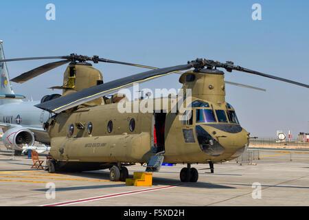 CH-47 Chinook at Dubai Air Show 2015 in Dubai, UAE - Stock Photo