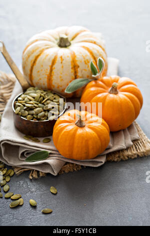 Pumpkins with pumpkin seeds and sage leaves - Stock Photo
