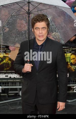 The UK Premiere of 'Sicario' held at the Empire Leicester Square - Arrivals  Featuring: Benicio Del Toro Where: - Stock Photo