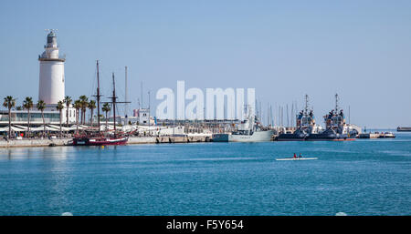 view of La Farola, the lighthouse of the Port of Malaga, Costa del Sol, Andalusia, Spain - Stock Photo