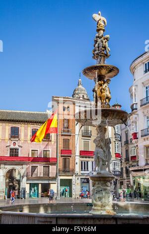 Genoa Fountain on Plaza de la Constitucion in the historic center of Malaga, Andalusia, Spain - Stock Photo