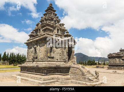 Arjuna temple in the Dieng Plateau near Wonosobo in central Java, Indonesia. These Hindu temples are known as being - Stock Photo