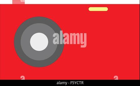 Old red Photo camera symbol, vector illustratin - Stock Photo