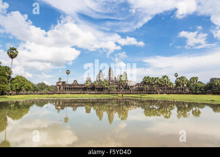 Angkor Wat is part of a stunning complex of temples and other monument near Siem Reap in Cambodia. - Stock Photo