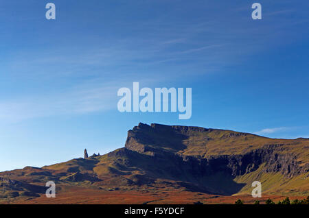 A view of The Storr and The Old Man of Storr on Trotternish, Isle of Skye, Inner Hebrides, Scotland, United Kingdom. - Stock Photo