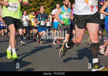 Competitors running through the city centre in the Plusnet Yorkshire Marathon York North Yorkshire England UK United - Stock Photo