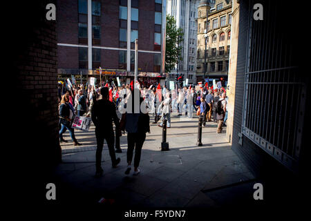 Manchester anti-austerity protest rally - Stock Photo