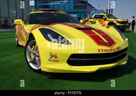 Dubai, UAE. 10th November, 2015. Hot Rod: Dubai Civil Defence are using a bright yellow V8-powered Chevrolet Corvette - Stock Photo