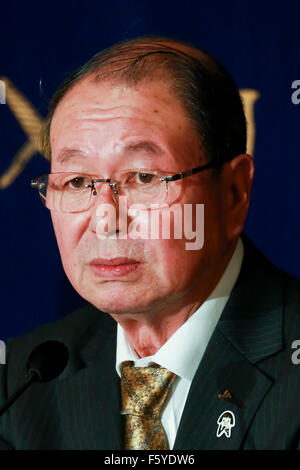 Choe Okuno President of JA Zenchu (the Japanese Central Union of Agricultural Co-operatives) speaks during a press - Stock Photo