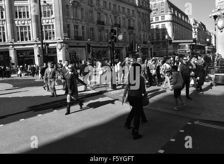 Shoppers Crossing Regents Street,Oxford Street, Interchange, London, England - Stock Photo