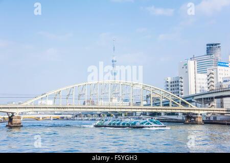 Sobu Line Sumida River bridge,Sumida river,Tokyo,Japan - Stock Photo