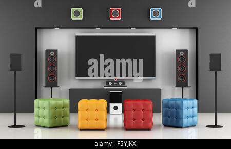 Home cinema room with colorful hassock and TV set - 3D Rendering - Stock Photo