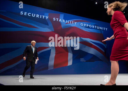 Mayor of London Boris Johnson on stage giving his speech during Conservative Party Conference , Manchester , October - Stock Photo