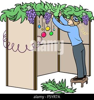 A vector illustration of a Jewish guy standing on a stool and building a Sukkah for the Jewish holiday Sukkot. - Stock Photo