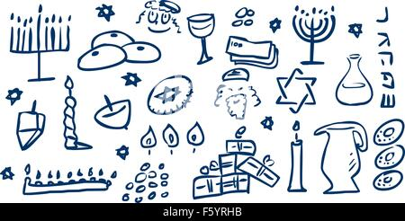A pack of vector illustrations of Hanukkah related doodles for the Jewish holiday. - Stock Photo