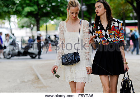 Models Magda laguinge and Sanne Vloet  after Chanel Haute Couture, Grand Palais, Paris, PFW FW15 SS16 . - Stock Photo