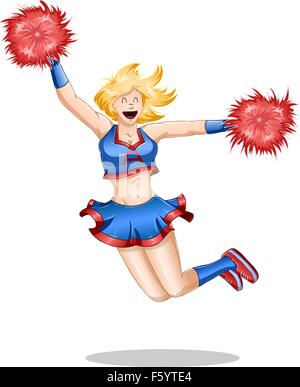 A vector illustration of a blond cheerleader jumping in the air with happiness. - Stock Photo