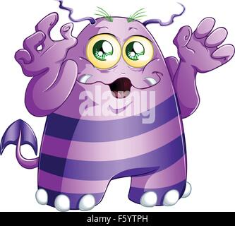 A vector illustration of cute scary purple monster for Halloween. - Stock Photo