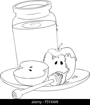 a vector illustration coloring page of a honey jar and sliced apple covered with honey and