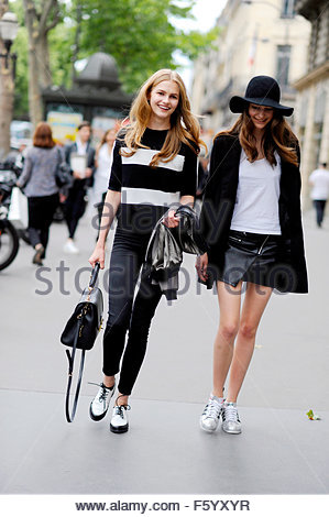 Models Off Duty after Elie Saab Haute Couture on Rue Madeleine Paris, Paris, PFW FW15. - Stock Photo