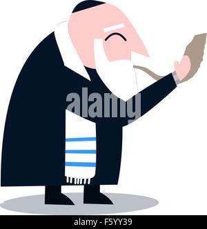 Vector illustration of a Rabbi with Talit blows the shofar the Jewish holiday Yom Kippur. - Stock Photo