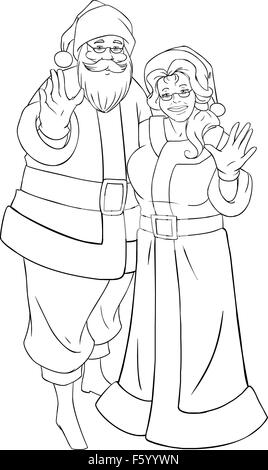 A vector illustration of Santa and Mrs Claus standing hugged and ...