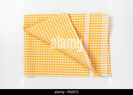 ... Yellow And White Checkered Tablecloth On White Background   Stock Photo