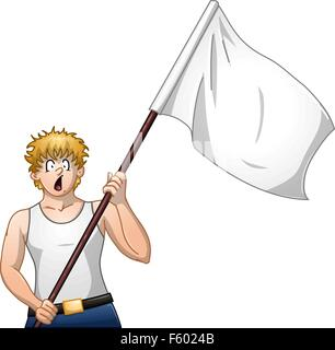 Vector illustration of a guy holding a white flag and surrendering. - Stock Photo