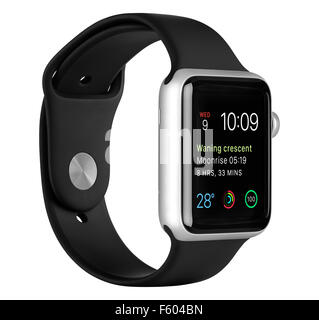 Varna, Bulgaria - October 16, 2015: Apple Watch Sport 42mm Silver Aluminum Case with Black Band with clock face - Stock Photo