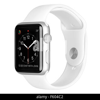 Varna, Bulgaria - October 16, 2015: Apple Watch Sport 42mm Silver Aluminum Case with White Band with clock face - Stock Photo