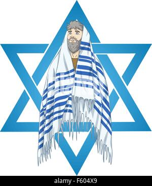 Vector illustration of Rabbi with talit and star of david - Stock Photo