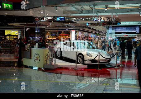 Lottery Porsche prize displayed at Dubai Airport Duty Free complex UAE United Arab Emirates - Stock Photo