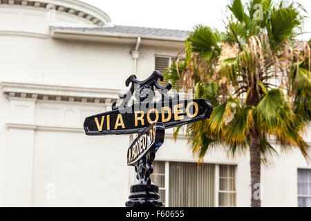 A street sign for Rodeo Drive in Beverly Hills California - Stock Photo