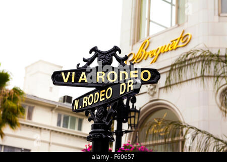A sign for Rodeo drive in Beverly HIlls California - Stock Photo