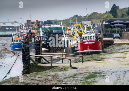 Cockle boats tied up at Leigh on Sea in Essex. - Stock Photo