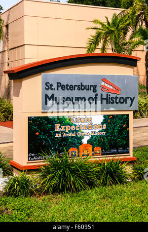 The sign outside the St. Petersburg Museum of History on 2nd Ave in this Florida city - Stock Photo