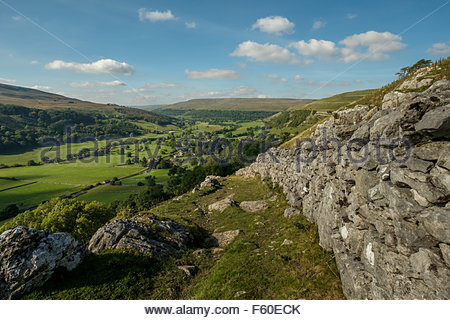 View over the village of Buckden, Wharfdale in the Yorkshire Dales, England on a sunny day in Autumn. Langstrothdale - Stock Photo