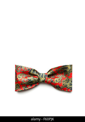 Red bow-tie on white background - Stock Photo
